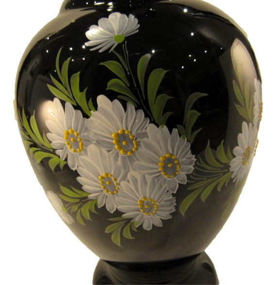 228 & Italian Black Amethyst Glass Vase Hand Painted Flower Vase Signed by Artist Gari