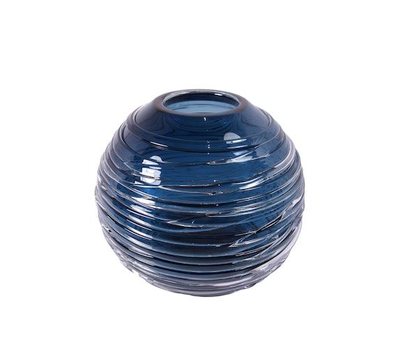 William Yeoward Crystal Glass Vase In Hand Blown Steel Blue