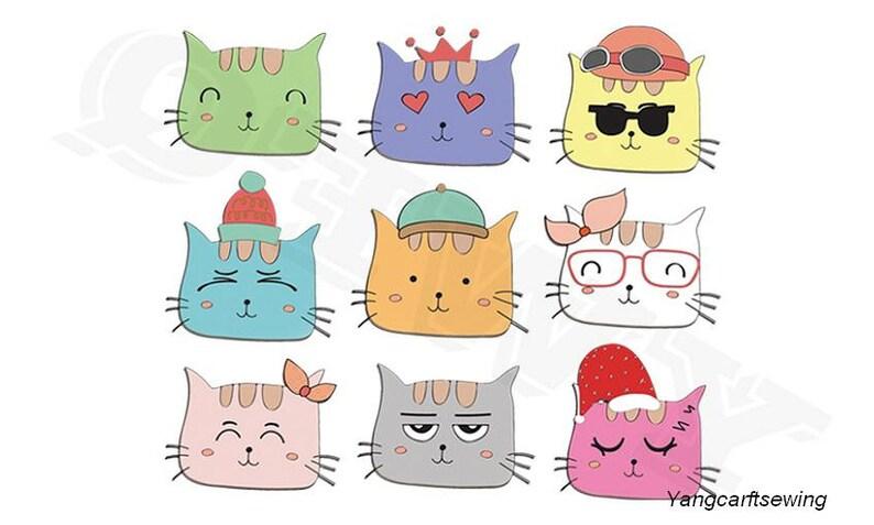 b446c935242e Cute Cats Patches 9pcs/lot Iron-on Transfers Children T-shirt Jeans DIY  Decoration A-level Washable Stickers