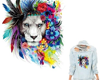 Colife Flower Lions Patches 20*25cm Iron On Patches For Clothing Stickers Christmas Gift For Girls Boys