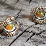 Ethiopian Opal Sterling Silver and 14k Gold Fill Wire Wrapped Earrings || Wire Wrapped Stud Earrings || Handmade Jewelry || Opal ||
