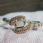 RESERVED Opal, sterling silver, 14k gold fill wire wrapped ring, size 7.5
