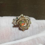 RESERVED Opal, Sterling Silver, and 14k Gold Fill Wire Wrap Ring