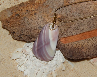 Beach Shell Pendant Necklace, Polished Purple And White