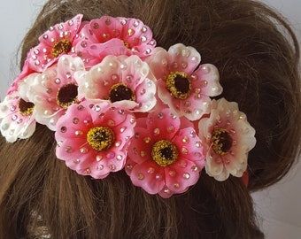 Rhinestone Pink Flower Headband