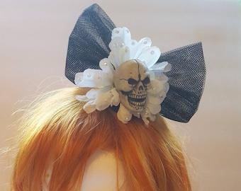 Halloween Skull Flower Bow