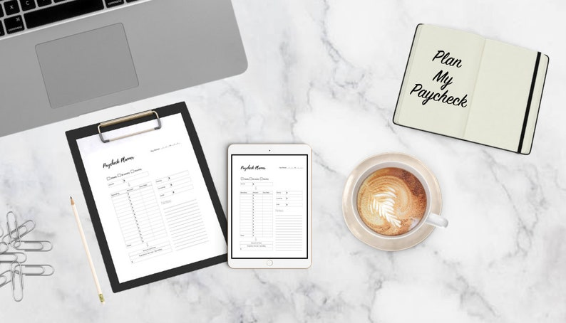 Black and White Paycheck Planner
