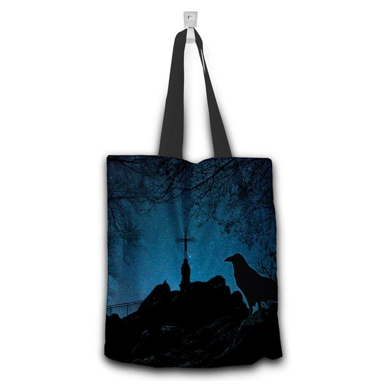 Black Bird Cross Cemetery Blue Night Sky Canvas Tote Bag Trendy Modern Dark Gothic
