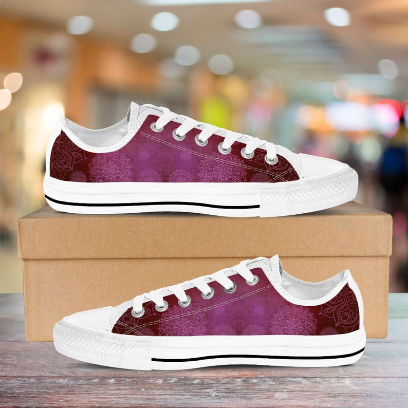 e75de7892109 Women s Low Top Sneakers Shoes Mandala Peace Design Red