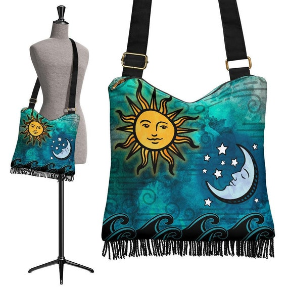Select Size Celestial Pattern Tote Bag Turquoise Sun Moon Stars Artistic Design