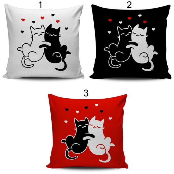 Enjoyable Pillow Cover Retro Modern Black White Red Cats In Love Home Decor Throw Pillow Pillow Case Sofa Couch Living Room Bedroom Pabps2019 Chair Design Images Pabps2019Com
