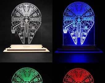 LED Edge-Lit Acrylic Display - Star Wars, Millenium Falcon