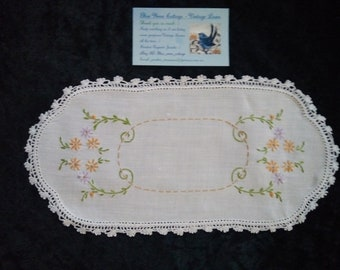 Lovely Vintage Hand Embroidered Doily - Swirls of flowers & foliage