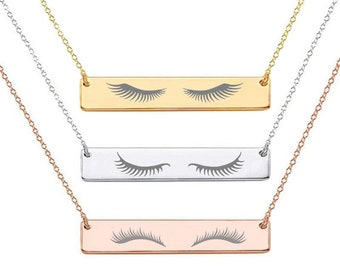 756f10d99de Eyelashes Necklace, Custom Engraved Gold, Rose Gold, Silver Plated  Stainless Steel Necklace