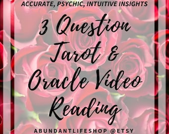 3 QUESTION LOVE READING, Video Reading, Accurate, Fast Psychic Reading, Tarot, Oracle, Reading, Clairvoyant, Intuitive, Video, Tarot Reading