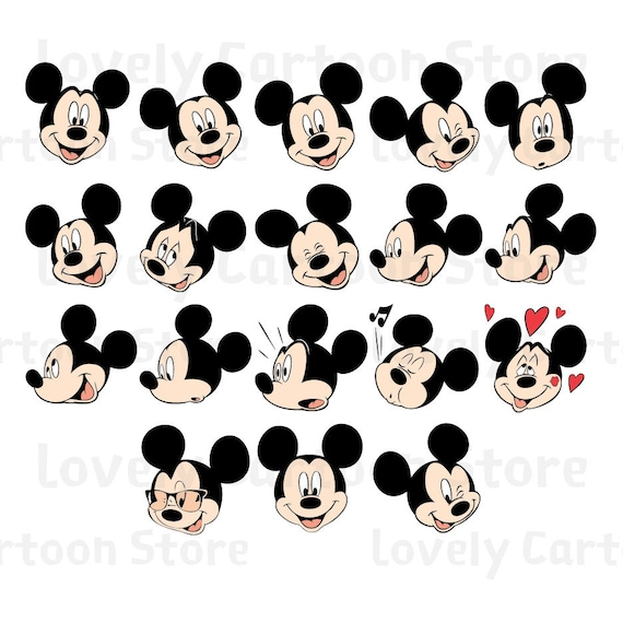 Mickey Mouse Emojis Svg, Eps, Dxf and Png formats - 18 Emojis Clipart -  Digital Download