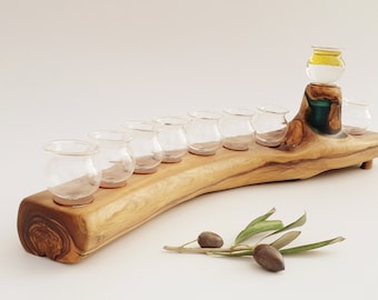 Hanukah Menorah, Menorah made of natural olive wood and resin, Judaica ,Gift , Handmade, Made in Israel, Oil Menorah, Jewish Holiday Gift