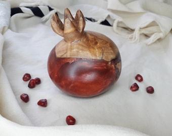 Pomegranates made of olive wood and  resin, Art Judaica, wooden Pomegranate, Table decor gift, pomegranate decor, Rosh Hashana
