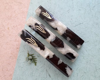 Set of three mezuzahs, made of natural wood and resin. Wooden mezuzah, Jewish housewarming gift,  Jewish wedding gift, Made in Israel,