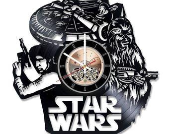 Star wars Vinyl Record Wall Clock Housewarming Gift Walt Disney Design Kids Room Decor