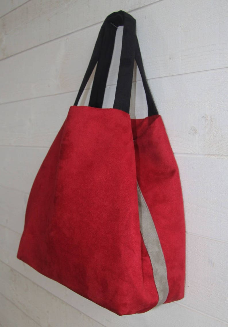 Large women/'s tote bag in red suedette with 2 black handles and a grey edging