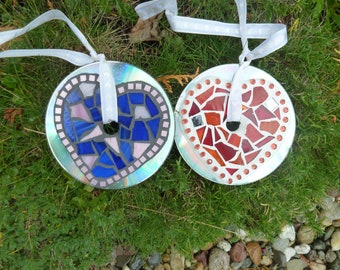Mosaic wind chime suncatcher heart blue or red