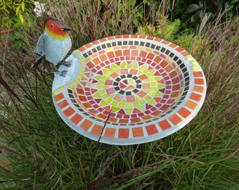 """Mosaic """"Red Chalble"""" bird potions with staff"""