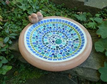 Mosaic Bird Trough Terracotta Bird Pair