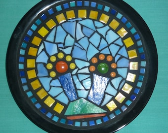 """Mosaic bowl """"trees"""" plate with mosaic black"""