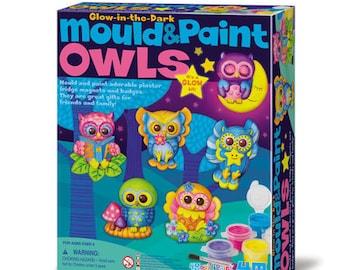Creative Kit / cast plaster and paint owls, owls / kids DIY