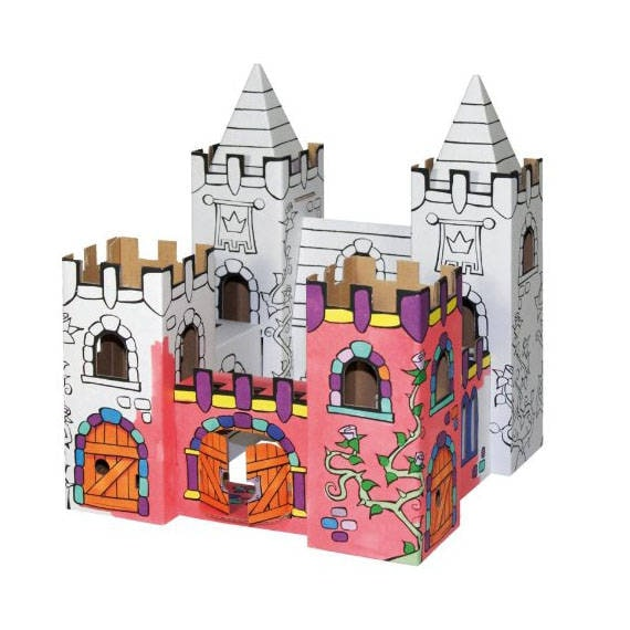 Palace of roses to build and coloring with 12 markers included / creative  Kit DIY for kid / Construction paper and coloring
