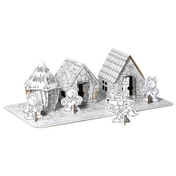 The 3 small pigs and their houses to assemble and coloring with 12 markers  included/DIY creative coloring Kit