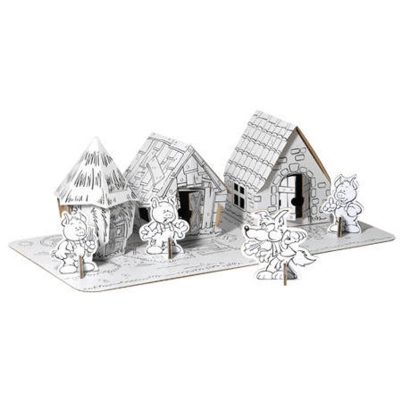Coloriage Maison Cochon.Les 3 Petits Cochons Et Leurs Maisons A Assembler Et A Etsy