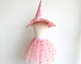 Little witch costume. Pink witch hat&skirt.  Witch costume. Wizard costume. Halloween star costume.