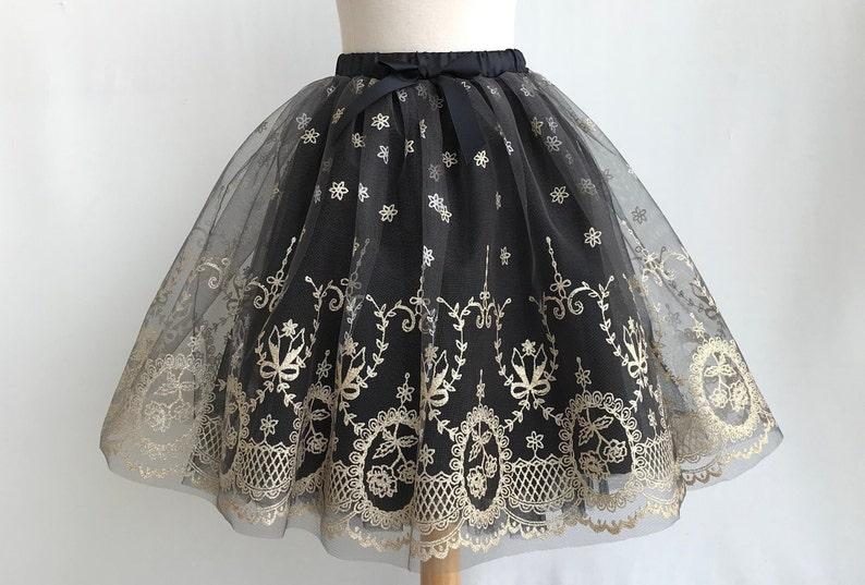 c08471228072 Girl Cinderella tutu. Girl maxi tulle skirt. Black and gold | Etsy