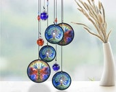 Tree of Life Butterfly Metal Wind Chime with Crystals Rainbow Maker Garden Outdoor Porch Decor Birthday Anniversary Sympathy Gift