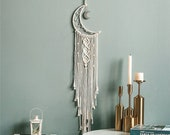Crescent Moon Macrame Tapestry Dreamcatcher Unique Wall Art Decoration, Large Nursery Wall Hanging