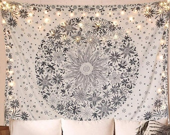 """XL 60x80"""" Black White Floral Daisy Medallion Monochromatic Boho Hippie Tapestry Art Wall Hanging Bedroom Large LED Remote Birthday Gift"""