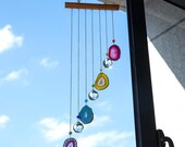 Agate Wood Crystal Wind Chime Sun Catcher Swarovski Large Chakra Suncatcher Wall Hanging Rainbow Maker Window Garden Bridesmaid Gift Decor