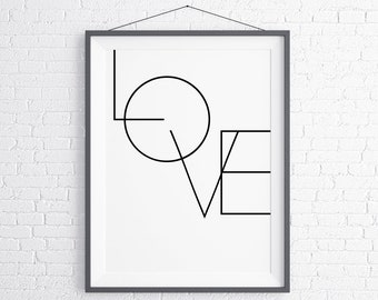 Minimalist Love inspirational wall art, motivational poster, digital download