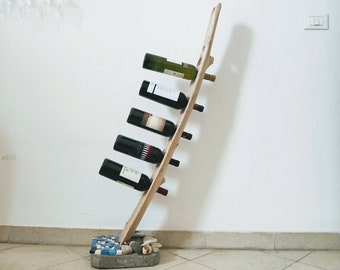 Wine racks Driftwood-wine-tree in wooden trunk beached in Sicily