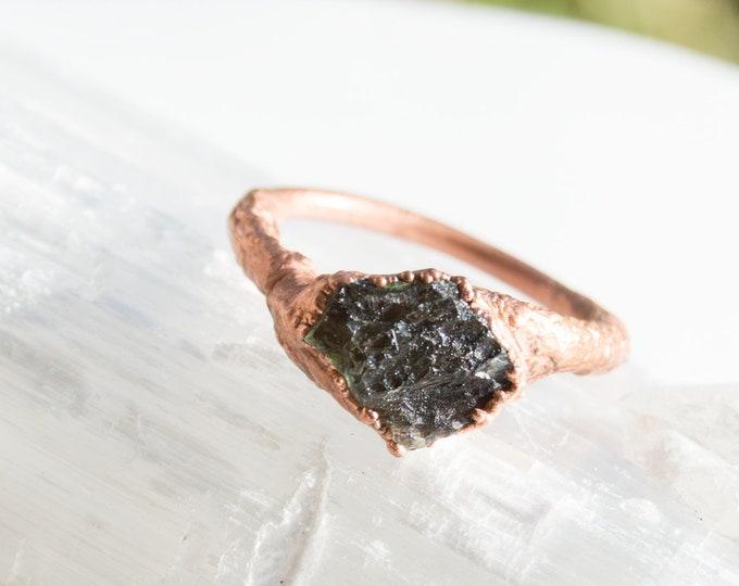 Moldavite and Copper ring - tektite electroform size 9 - Raw crystal jewelry