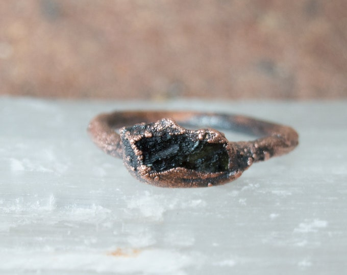 Raw Moldavite and Copper ring - solid copper electroform size 7 - Genuine Moldavite Czech Rebublic