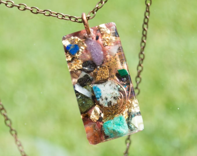 Orgonite® Axinite and K2 Pendant - Reiki Infused Orgone Necklace - EMF Sheild