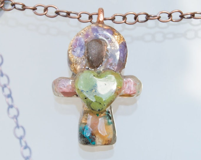 Orgonite® Chintamani Ankh Pendant with Amethyst, Jade, Pink Opal - Orgone  Necklace - EMF Sheild - 528hz