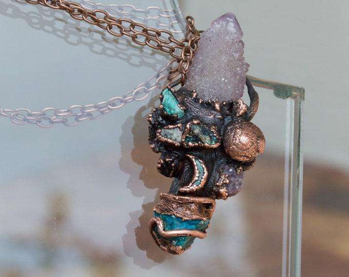 Large Amethyst Spirit Crystal Pendant with solid copper, Moldavite, Arizona Turquoise - Electroform Pendant - Orgone Necklace