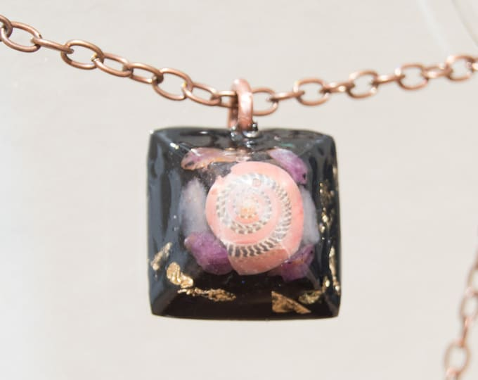 Orgonite® Pendant with Ruby, Elite Shungite, Rose Quartz - Orgone Necklace - EMF shield