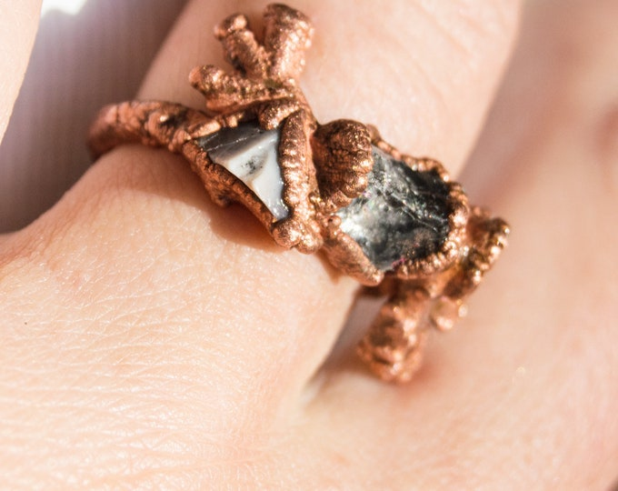 Herkimer Diamond and Botswana Agate ring - pure Copper ring - solid copper electroform size 8