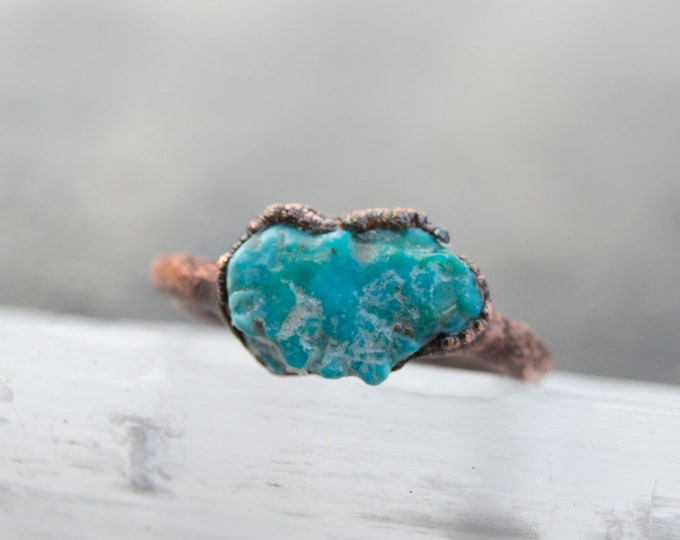Genuine Sleeping Beauty Turquoise Ring - Raw Arizona Turquoise with Pure Copper Electroform size 8.25 - artisan jewelry Healing stones