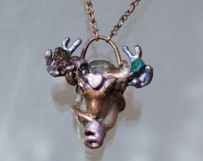 Raw crystals Pink Opal & Herkimer Diamond Reindeer Pendant with copper electroform - Orgone Necklace